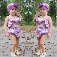 Wholesale Cotton Flower Print Underwear - Summer Baby Outfits flower Printed Ruffle Tops + Floral Shorts underwear 2pcs Sets Girls Clothing Sets Toddler Casual suits C822