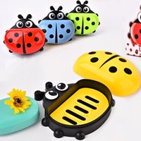 Wholesale soap covers - Cartoon Soaps Box Household Bathroom Articles Plastic Lady Bug Soap Dishes With Cover Dust Proof Multi Color rl C R