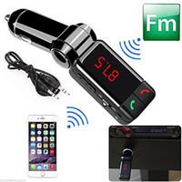 usb müzik çalar toptan satış-FM Verici Radyo Araç Kiti MP3 Müzik Çalar Kablosuz Bluetooth Dijital Ekran 2 USB Portu Ile AUX jack El-ücretsiz