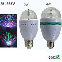 Wholesale Led Bulb Rgb Disco - Full Color E27 3W 6W RGB LED Crystal Stage Light Auto Rotating Lamp AC 85 - 265V Laser Disco DJ Party Holiday Dance bulb