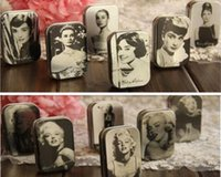 Wholesale Marilyn Monroe Storage Boxes - Classic Jewelry storage box Audrey Hepburn Tin Box Marilyn Monroe retro Small objects organization tool