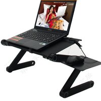 Atacado - Usado no inverno Mesa dobrável Portátil Laptop Table Vented Tablet PC Stands Bed Sofa Bandeja Lapdesk com fãs USB e Mouse Pad