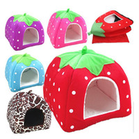Ortilerri Soft Strawberry Cave Pet Dog House Nest Cat Rabbit Bed House Cute Kennel Nest Washable Cushion Baskets for Puppy Home