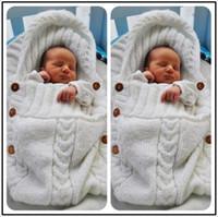 Wholesale Toddler Purple Hat - Baby Knitted Blankets Newborn Handmade Wraps Toddler Super Soft Sleeping Bags Kids Cotton Tassel Hat Winter Swaddling Nursery Bedding B2940