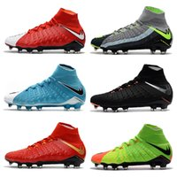 Wholesale Slip Spiked Shoes Men - 2018 Mens high ankle FG soccer cleats Hypervenom Phantom III DF soccer shoes neymar IC football boots cleats Men football shoes Cheap