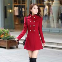 orta boy etekler toptan satış-Artı Boyutu 2017 Sonbahar Kış Kadın A-line Etek Ceket Kruvaze Ince Orta-Uzun Katı Renk Trençkotlar Coats Kadın Ceketler