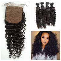 Wholesale Vietnamese Silk - Silk Base Closure With Hair Bundles 5pcs Lot 100% Natural Human Hair Peruvian Deep Wave Virgin Hair Closure G-EASY