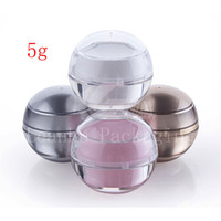 Wholesale 5g Acrylic Jar Wholesale - Wholesale- 30pc lot 0.17oz empty sample Cosmetic Cream Jar container ,Cosmetics Packaging,5g luxury Acrylic Ball shape cream Jar container,