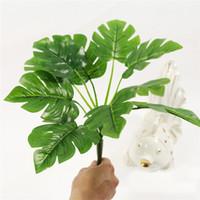 ingrosso bonsai trees-Freeshipping Artificiale Turtle foglie di fiori di seta Stelo verde erba alberi piante false per la ghirlanda, bonsai in vaso