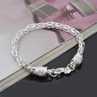 bracelet style rue achat en gros de-Nouveau Chaud 925 en argent sterling chaîne bracelet 6 MM X20CM rue style de mode bijoux de noël cadeaux bas prix KKA1080