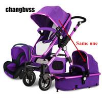 carrinhos de bebê novos da chegada venda por atacado-Chegada nova Marcas de Luxo Carrinho de Bebê 3 em 1 Alta Paisagem Crianças Bebê Pram com Assento de Carro poussettes 3 em 1 Frete Grátis