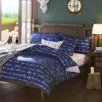 Wholesale Letters Quilt - Wholesale- Home Textile Duvet Cover Blue Love Letter Printed Cotton Bedding Set Single Double King Quilt Duvet Cover Bed Sheet Pillowcase