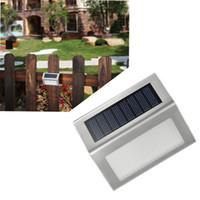 valla de escaleras al por mayor-3 LED Lámpara de pared solar Luz de escalera Luz de jardín de acero inoxidable a prueba de agua Luz de jardín para la pared Patio Patio Vía Luz de cerca