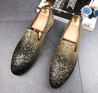 Wholesale Low Heel Gold Glitter Shoes - 2017 British Men's Glitter Gold Silver Red Casual Shoe Flats Male Homecoming Pageant Dress Wedding Prom Shoes rubber bottom