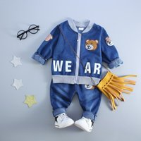 Wholesale Infant Brand Wear - Toddler Baby Boy Clothing Wear Fashion Set 2017 Newest Boys Clothes Denim Jacket Plus Pants Suit 2PCS Children's Infant Clothings