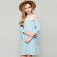 Wholesale Girl S Denim Dresses - 2017 Fashion Big Girls Dress Lace Dresses Europe style Children 's dress Bowknot Half Sleeve Bohemia Girls Dresses Loose Party Dress A6505