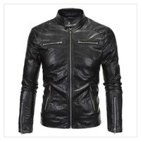 Wholesale Style Men Jacket Fur - Leather Jackets for Men Hight Quality 2017 Stand Collar Pure Color Zipper Stitching Punk Locomotive Leather Clothing Jackets US SIZE:XS-XXXL