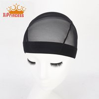 Wholesale Elastic Wig Caps - Dome Style Mesh Wig Cap Black Stretchable Weaving Caps Elastic Nylon Mesh Net For Making Wigs Glueless Hairnet Liner