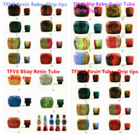 Wholesale Electronic Cigarette X - Colorful Replacement Resin Tube Caps with Resin Drip Tips for Electronic Cigarette Smok TFV8 Baby Big Baby Smok TFV12 X-Baby Tank Atomizer