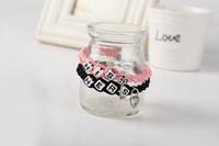 Wholesale Couples Lock Key Bracelet - Pink & Black New Snap Button Jewelry leather bracelets for Couple LOCK & KEY Charm Bracelet Lover Valentine's Day Gift Pulsera HYBX33122