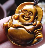 ingrosso pendente di amuleto di buddha-Gemma naturale dell'occhio della tigre Gemma il pendente intagliato del Buddha + il commercio all'ingrosso libero dei monili fini del pendente amuleto dell'oro della collana libera