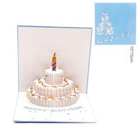 Wholesale Birthday Blessing - New arrive birthday cake 3D Pop UP Gift & Greeting Blessing Cards Handmade paper silhoue & Creative Happy christmas cards