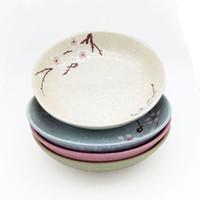 assortiment d'assiettes achat en gros de-Assiette à soupe de cerisiers en fleurs 4 pièces Assiettes à sushi en céramique japonaise de 7 pouces de couleurs variées Flocon de neige Rose bleu vert gris