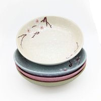 Wholesale Green Dinner Plates - Cherry Blossom Dinner Plate Set 4 Pieces 7 inch Japanese Ceramic Sushi Plates of Assorted Snowflake Color Glaze Pink Blue Green Grey