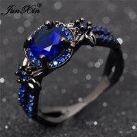 JUNXIN New Unique Design Fedi nuziali per gli uomini e le donne Crystal Fashion Black Gold Filled Party Ring Jewelry Gifts