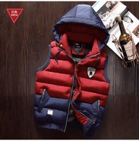 Wholesale Men Casual Vest Outwear - Winter Men Wasitcoats Hooded Down Vest Male Autumn Thick Warm Coat Outwear Tops Overcoat Sleeveless Fashion Big Size 4XL 2016