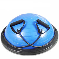 Wholesale 65cm Yoga Ball - Wholesale- Yoga Balance ball Half With Pump Balloons Pilates fitness Gym half Bosu Ball hemisphere PVC+ABS Fitball Trainer Stabilizer