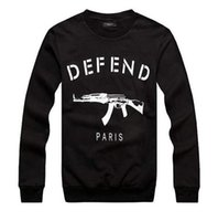 Wholesale Rifle Sleeve - Wholesale-DEFEND PARIS AK47 Women Men GIV Automatic rifles print pullover Long-Sleeve Hiphop 3D Sweatshirts Hoodies sweats Tops