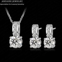 ANFASNI Shiny Fashion Large Discount Wedding Jewelry Set Silver Color AAA Zirconia Set Pendiente / Collar Set Para Mujeres CST0002-B