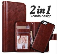 Wholesale Detachable Iphone - New For iPhone 7 PU Leather Case 2 in 1 Magnetic Wallet Detachable Leather Cover For iPhone 6S Samsung Galaxy S8 plus S6 S7 Edge Stand Cases