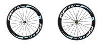 Wholesale fast forward tubular - Hot sale FFWD F6R 60mm whte blue decal carbon bicycle wheels fast forward road bike wheels 23mm width V brake cycling clincher wheels