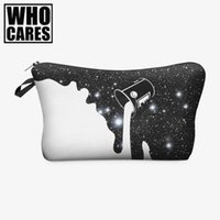 Wholesale 3d Painting Aluminum - Wholesale- milky way paint 3D Printing who cares women cosmetic bag neceser Fashion travel bolsos mujer de marca famosa toiletry organizer