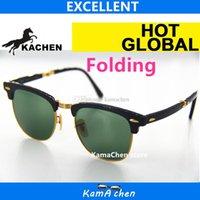 Wholesale Square Bottles - KaChen Folding 902 amber leopard frame Green Bottle Lens UV400 protection tortoiseshell sunglasses glasses men women