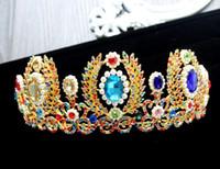 Wholesale Tiara Diamond Wedding Dress - The new 2017 DG golden crown crown Baroque baroque style hair color diamond wedding headdress wedding dress accessories wholesale FREE SHIPP