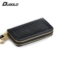 Wholesale Double Passport Wallet - Wholesale- Ougold Double Zipper Wallet Women Fashion Brand Leather Large Capacity Purse Two Cell Phone Pocket Female Wallets Card Holder