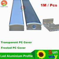 cubierta de perfil de tira de led al por mayor-Sinomann-SW1707 1M Perfil de aluminio transparente Láctea Frosted PC Cover para tira flexible de led tira rígida de led de hasta 12 mm de ancho