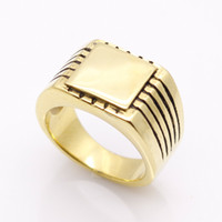 Wholesale Solid Gold Man Ring - Fine Jewelry Men's High Polished Signet Solid Stainless Steel Ring 316L Stainless Steel Biker Ring For Men Gold Color Jewelry