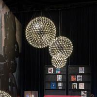 sanat projeleri toptan satış-Modern oturma odası kolye ışık paslanmaz çelik top led havai fişek ışık restoran villa otel projesi aydınlatma
