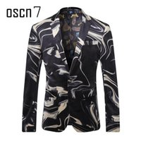 Wholesale Evening Wear For Men - Wholesale- OSCN7 Printed Slim Fit Mens Blazer 2017 Latest Evening Party Stage Wear for Singer Plus Size Leisure Blazer Masculino M-3XL