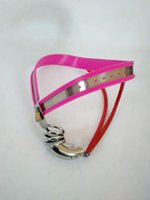 Wholesale Male Pink - Pink Color Male Chastity Device with Cock Cage Sex Slave Penis Male Chastity Belt Master Slave Lockable Penis Bondage Device