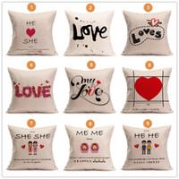 Wholesale Love Sofa Chair - Sofa Wedding Decorative Throw Pillowcase for Couch Bedding Chair Square Sofa Car Cushion He She LOVE Linen Cushion Cover