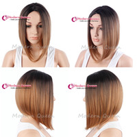 Wholesale Hot selling Bob Ombre Color Straight Wig Simulation Synthetic Wigs Straight Full Wigs for black women