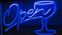 gafas abiertas al por mayor-Script OPEN Glass Cocktails cervecería pub club letreros 3d led luz de neón letrero decoración para el hogar artesanía