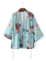 Wholesale kimono european style for sale - Women vintage floral blue kimono coat open stitch sashes outerwear ladies European style casual fashion long tops
