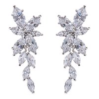 Wholesale Long Diamond Earrings Wedding - Top Design Exquisite Shinning Long AAA CZ Diamond 925 Sterling Silver Stud Earring Elegant Accessories for Wedding Woman GLE5008