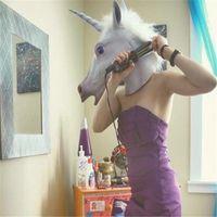 máscara assustador da cabeça do unicórnio venda por atacado-New creepy cavalo unicórnio máscara cabeça traje do partido do dia das bruxas teatro prop novidade látex de borracha cor branca